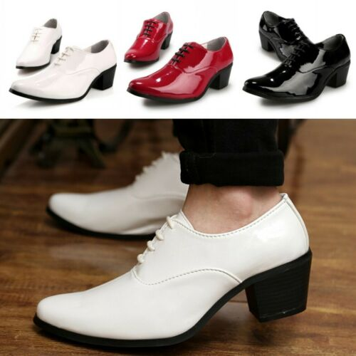 0e08ac99607 Mens patent leather lace up Business cuban Heel dress oxfords shoes ...