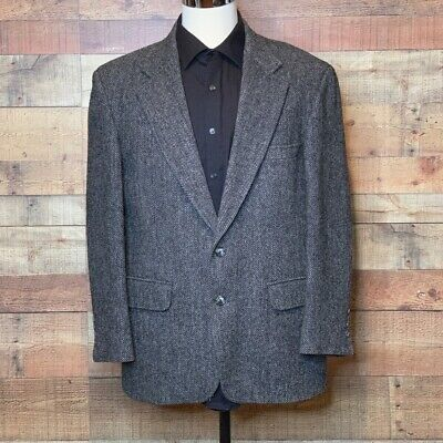 Harris Tweed Mens Two Button Blazer Black 100% Wool Sport Jacket Scotland 44 R