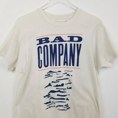 Bad Company Adult Tour Concert T-Shirt White Holy Water World 1990 Vintage M/L