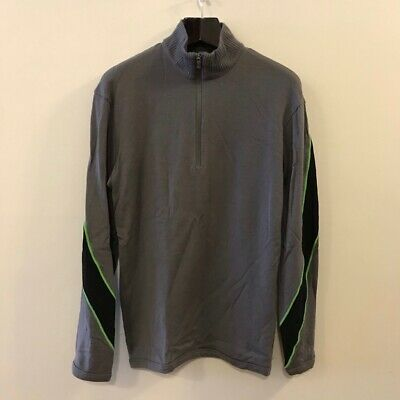 Icebreaker Sport 320 Mens Active Top Shirt Gray Merino Wool 1/4 Zip Pullover L