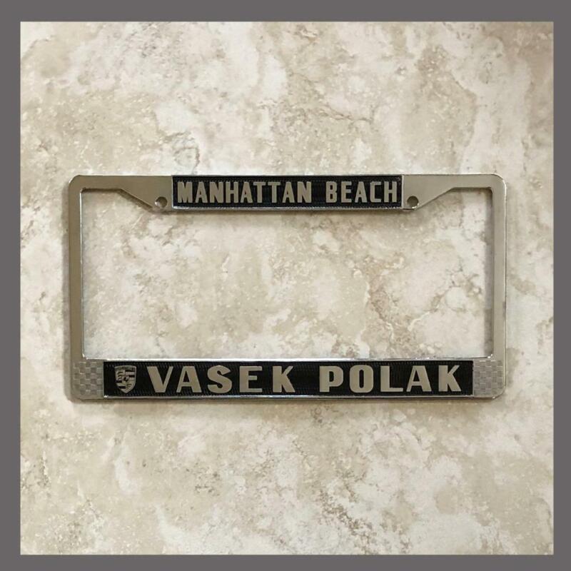 Vasek Polak Porsche VW Dealer License Plate Frame Manhattan Beach CA 1956+ Black
