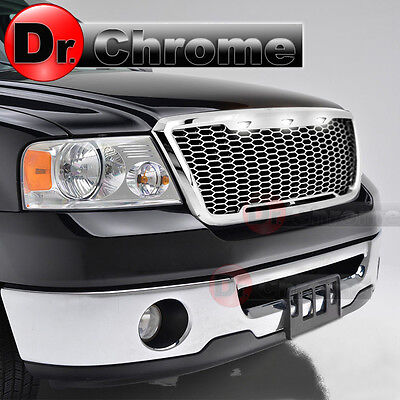 04-08 Ford F150 3x White LED Raptor Style Chrome Mesh Packaged Grille Grill