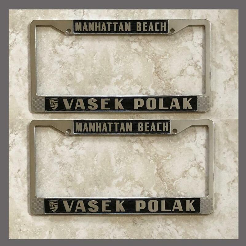 Vasek Polak Porsche VW Dealer License Plate Frames Pair Manhattan Beach CA Black