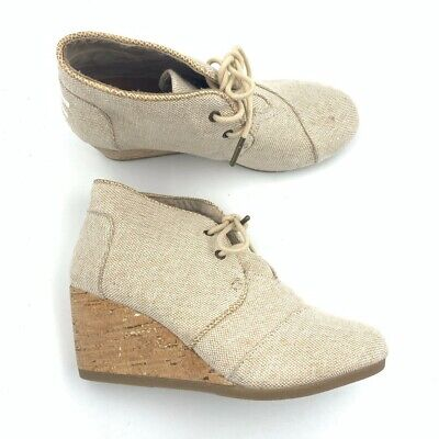 Toms Womens Kala Ankle Bootie Beige Canvas Cork Wedge Heels Lace Up Boot 6 New Heel Women Ankle Boot