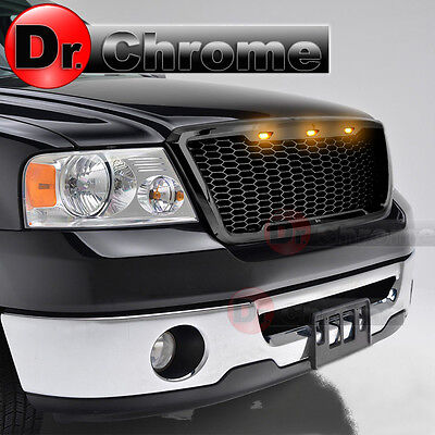 04-08 Ford F150 3x Amber LED Raptor Style Gloss Black Mesh Packaged Grille Grill