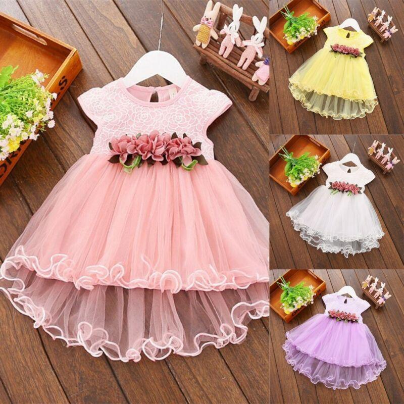 Baby Blumenmädchen Partykleid Sommer Prinzessin Tutu Tüll Hochzeit Kleider Neu