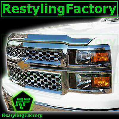 14-15 Chevy Silverado 1500 Triple Chrome Hood Shield Guard Bug Deflector 2015