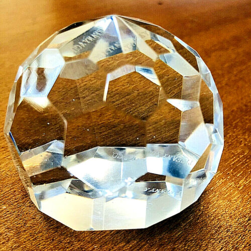 Vintage TIFFANY & CO. Clear  Crystal Diamond Faceted Paperweight