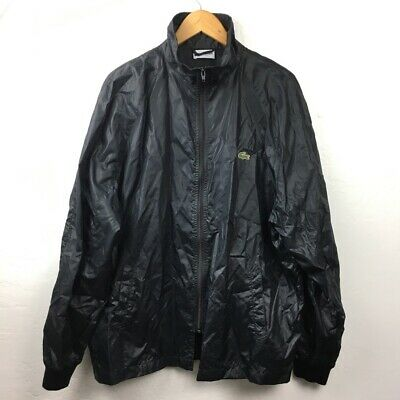 Lacoste Mens Windbreaker Jacket Black Full Zip Alligator Logo High Neck Coat XL