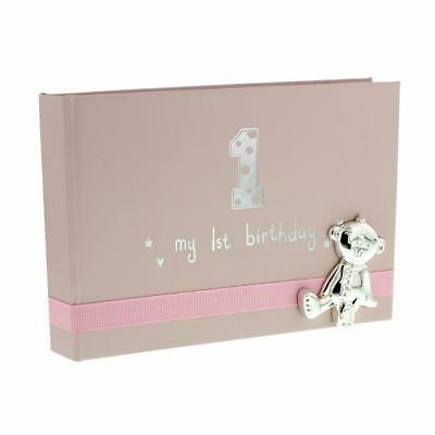 - Baby Girl First Birthday Photo Album With Teddy Icon 6x4
