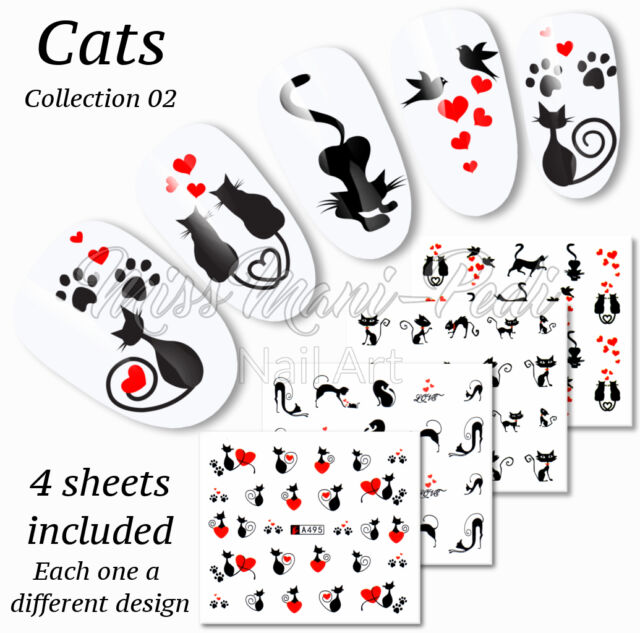 4x Nail Art Water Slide Decals Transfers Stickers Lucky Black Cats ...