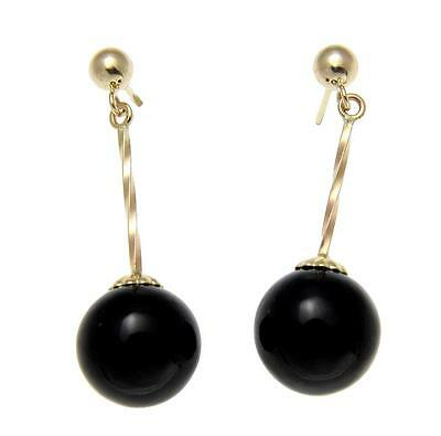 GENUINE NATURAL BLACK CORAL 10MM BALL DANGLE POST EARRINGS 14K YELLOW GOLD