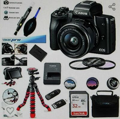 Canon EOS M50 Mirrorless Camera Kit EF-M 15-45mm f/3.5-6.3 IS STM Zoom Lens New