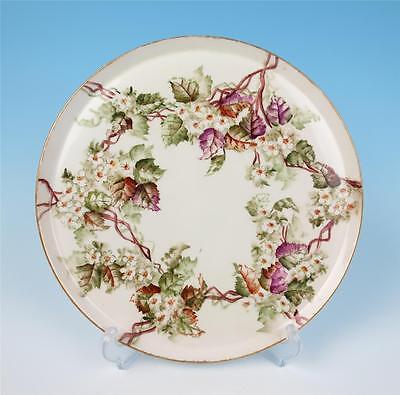 Antique Haviland Limoges Artist Hand Painted Round Tray Porcelain Dresser Plate
