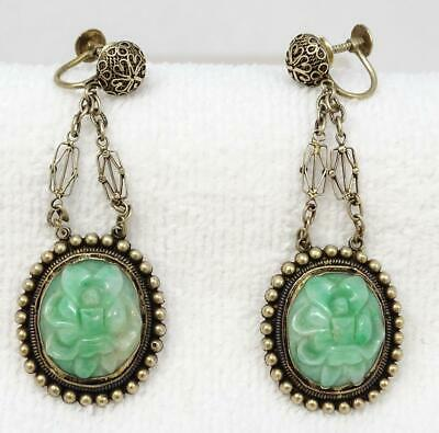 Antique Chinese Gilt Silver Carved Jade Lotus Drop Dangle Earrings Signed LIU
