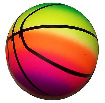 Balls In Sports (BASKETBALL SPORTS  RAINBOW 9IN PLAY BALLS kick bounce throw toy rubber ball)