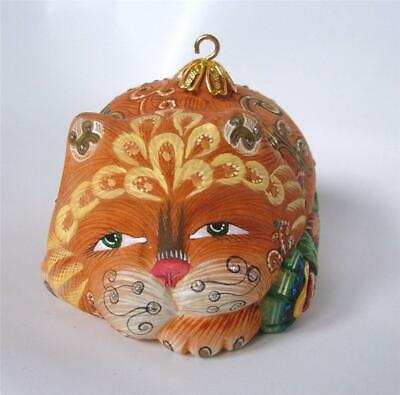 Hand Carved Painted Cat Ornament Figurine Russian Whimsical Sea Theme