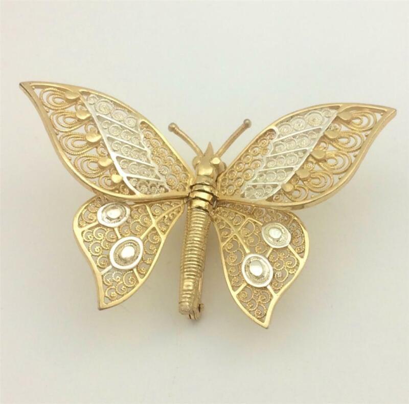 Vintage Van Lou Germany Sterling Gold Vermeil Filigree Articulated Butterfly Pin