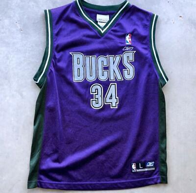 VTG 90s YOUTH Purple Reebok Milwaukee Bucks Ray Allen NBA Basketball Jersey L