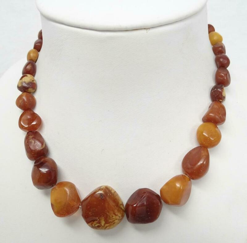 Antique Natural Butterscotch Egg Yolk Amber Bead Necklace