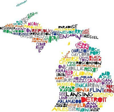 Michigan State Map - COOL MICHIGAN STATE MAP GLOSSY POSTER PICTURE PHOTO tigers red wings lions 2130