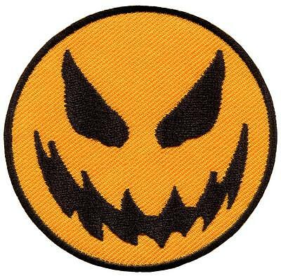 Scary halloween jack o lantern smiley face retro applique iron-on patch new G-90](Scary Halloween Smiley Faces)
