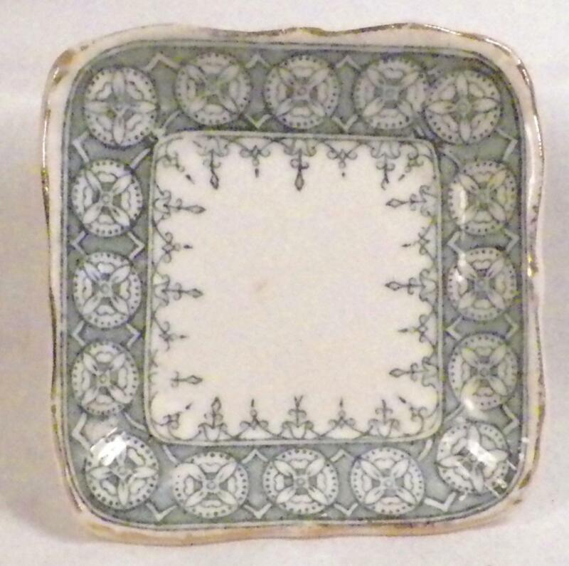 Antique Transferware Butter Pat John Maddox & Sons England Blue Green Geometric