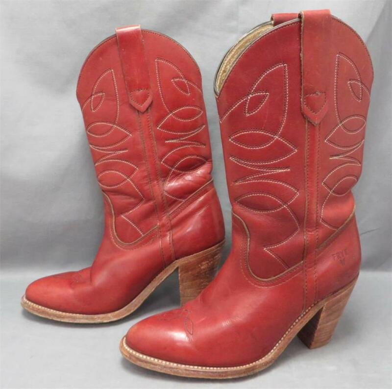 "Women vtg Frye Red Brown Leather 3"" Heel Cowboy Western Pull On Boot 5.5B"