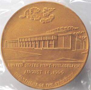 3-Bronze-1969-Official-Opening-Philadelphia-Mint-Medal-New-In-Box-Sealed