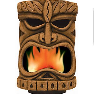 ANIMATED FLAME LIGHT TIKI HEAD LUAU PARTY HAWAIIAN Outdoor Halloween Decoration