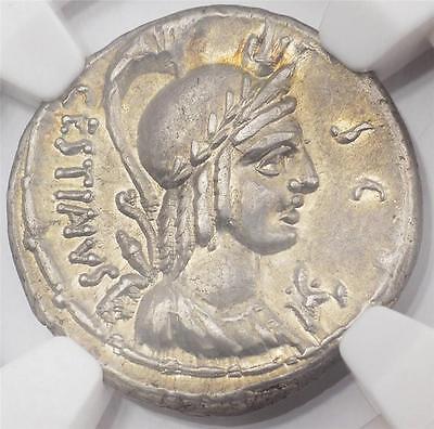 NGC Ch. AU M. Plaetorius Cestianus Ancient Roman Silver Denarius Coin 67 B.C.