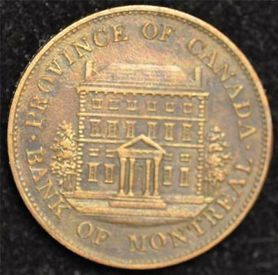 1842 Canada Token  Bank Of Montreal Half Penny  Au