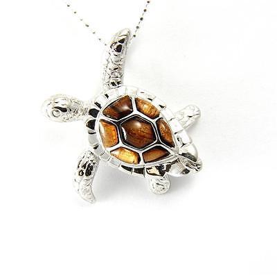 GENUINE INLAY HAWAIIAN KOA WOOD SEA TURTLE SLIDER PENDANT SILVER 925 MEDIUM - Koa Sea Turtle