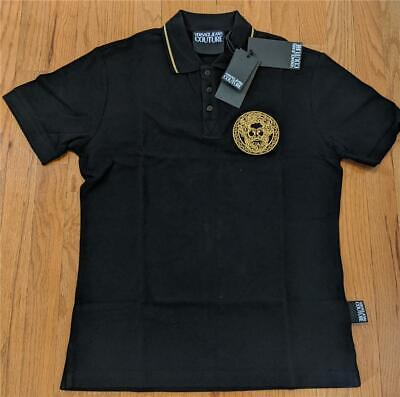 $125 Mens Versace Jeans Couture Medusa Patch Polo Shirt Black 52 US Large