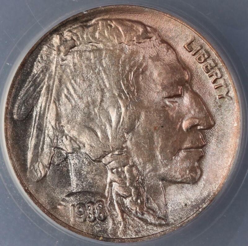 1938 D/D Buffalo Nickel ANACS MS64 RPM-2 - Toned - *DoubleJCoins* 3008-40