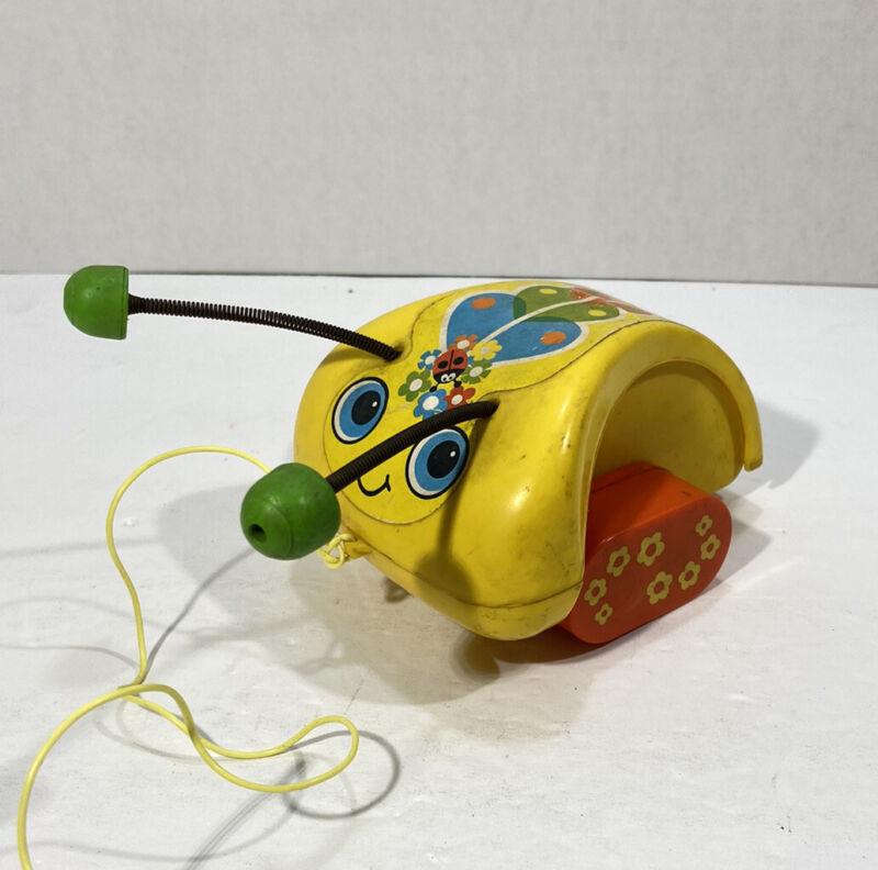 Fisher Price Toys Vintage 1974 Pull Bug Antenna Yellow Insect