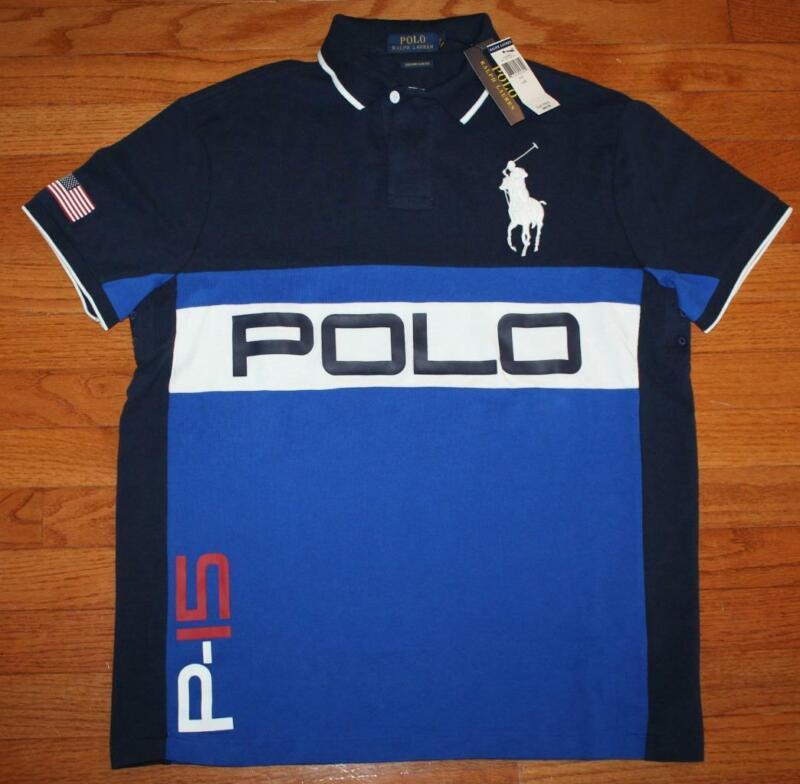 NWT Mens Polo Ralph Lauren Custom SLIM Fit Polo Shirt BIG PONY P-15 LOGO *G4