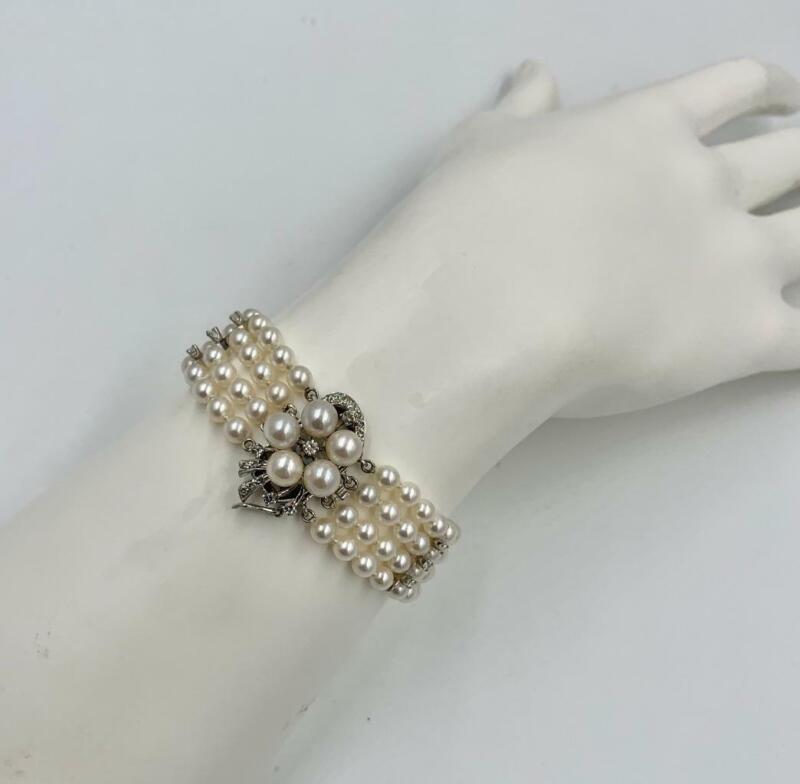 Pearl 26 Diamond Bracelet 14 Karat White Gold Hollywood Regency Wedding