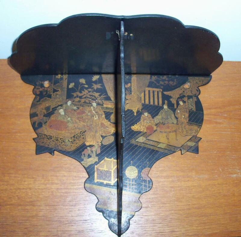 CHINOISERIE BLACK LACQUER PAPER MACHE WALL BRACKET VICTORIAN ASIAN SHELF