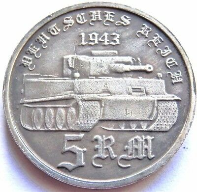 WW2 1943 ADOLF HITLER GERMAN EXONUMIA  5 REICHSMARK SILVERED COIN *TIGER*