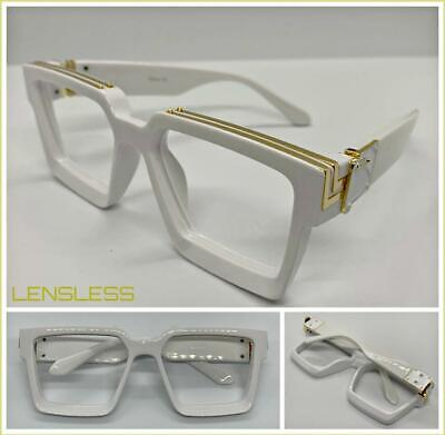 Oversized LUXURY RETRO Style Lensless Eye Glasses Thick White Frame Only NO (New Style Spectacles)