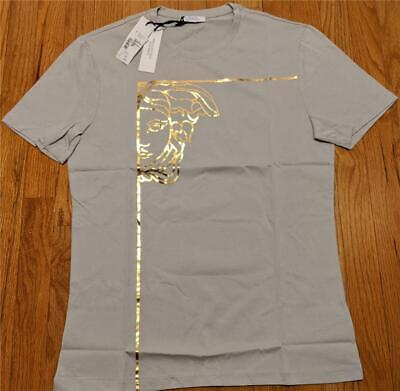 Mens Authentic Versace Collection Metallic Logo T-Shirt Gray XL $275
