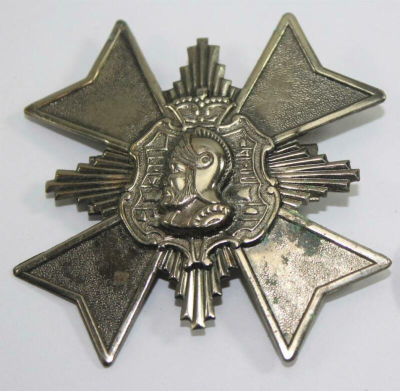 Vintage Silver Tone Maltese Malta Cross with Helmeted Knight Pin Brooch