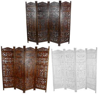 4 Panel Handgeschnitzt Indische Bildschirm Holz Blätter Bildschirm-zimmer - Hand Geschnitzten Blättern