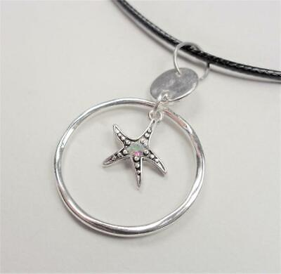 BEACH FASHION NAUTICAL STARFISH IN RING WITH CZ BLACK LEATHER CORD NECKLACE