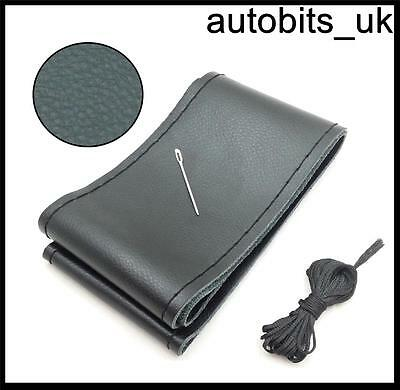 BLACK GENUINE LEATHER DIY STEERING WHEEL COVER SIZE M WITH NEEDLE AND THREADS A