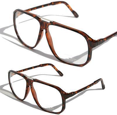 Übergröße Eckig Aviator Klarglas Brille Nerd Retro Turbo Landschildkröte Rahmen
