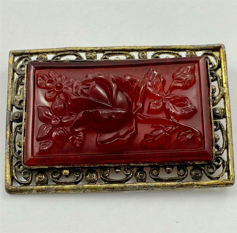 Antique Gold Tone Ornate Brooch Pin with Red Pressed Glass Rose
