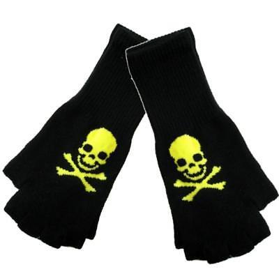 Black Knit Fingerless Gloves Long Wrist Yellow Skull Skeleton Bones Gothic