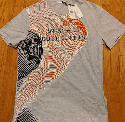 Mens Authentic Versace Collection Graphic Wave T-Shirt Gray/Red 2XL $250
